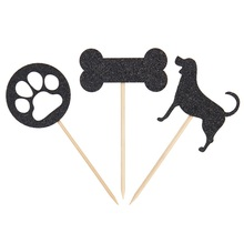 12pcs Gold and Black Cute Pet Dog Bone Cupcake Topper Birthday Party Cake Decoration Supplies Free Shipping
