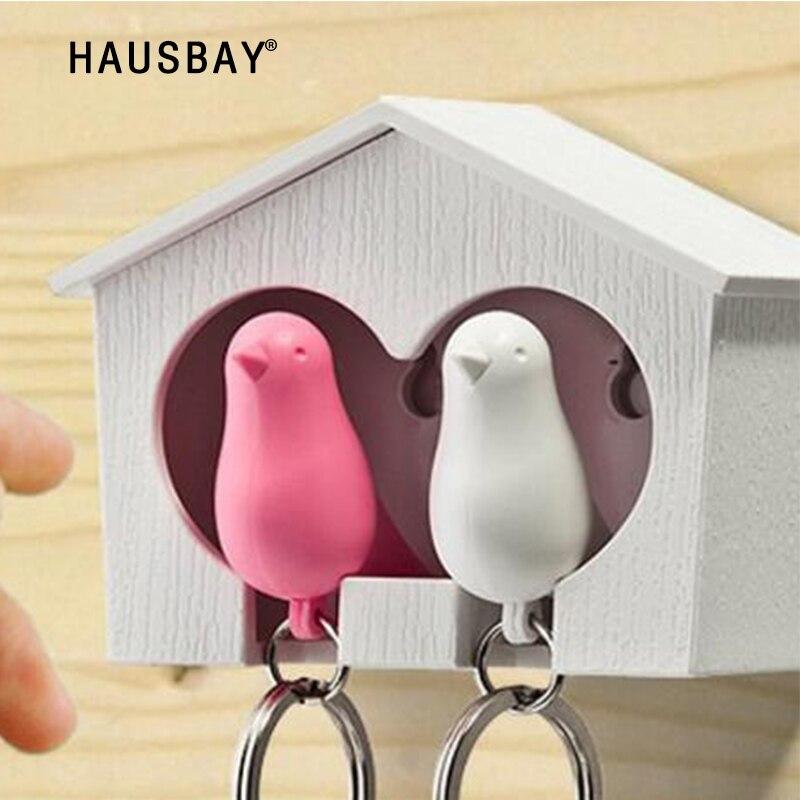 1 Unidades silbando clave Rack clave gancho par pájaro clave de suspensión para los amantes de la llave de almacenamiento titular de la ama de llaves, regalo de Día de San Valentín