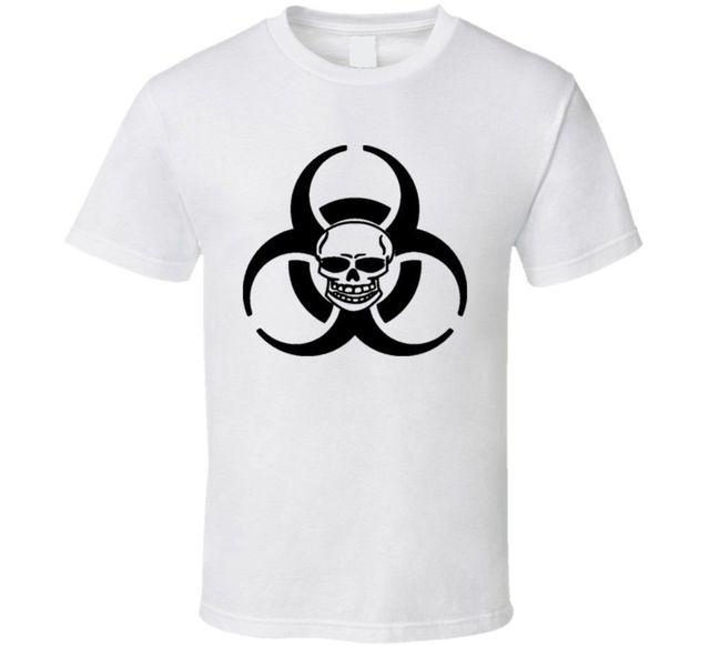 US $12 34 5% OFF|2019 Male Best Selling Biohazard Logo Skull Hazmat Hazard  Symbol T Shirt Summer Tee Shirt-in T-Shirts from Men's Clothing on