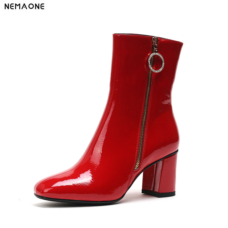 NEMAONE 2019 high heels ladies wedding boots spring autumn women ankle boots red black white zipper shoes woman large size 43 2017 size 32 43 fashion black lace up high heels women boots ankle ladies shoes woman spring autumn chaussure femme 33 34 white