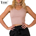 Autumn Elegant halter knitted sweater women sleeveless Slim short pullover jumper 2016 girls sexy v neck Elastic pull femme tops
