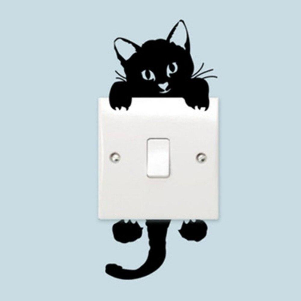 Bricolage drôle mignon chat interrupteur autocollants Stickers muraux décalcomanie décoration de la maison chambre salon salon décoration bébé chambre de bébé