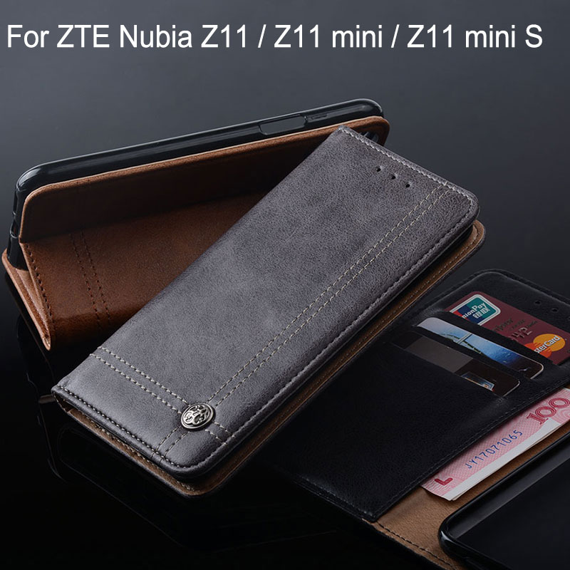 Para ZTE Nubia Z11 Mini S caso capa de Couro Da Aleta de Luxo com Slot para Cartão de suporte para Casos zte nubia z11 mini s funda Sem ímã