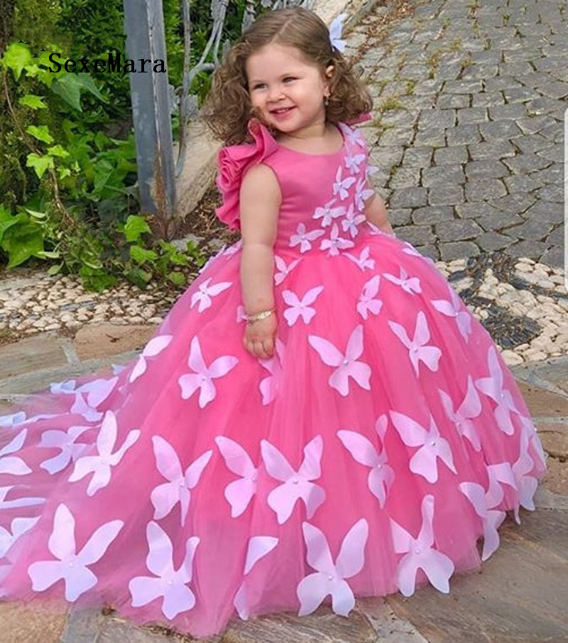 2019 New High Quality   Girls   Birthday Party   Dress   with Pearls Rose Red Puffy Tulle   Flower     Girl     Dress   with 3D Butterflies Vestidos