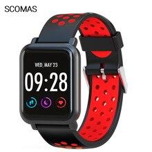SCOMAS S60 Smart Watch IP68 Swimming Waterproof 1.3IPS 9H Tempered Screen Blood Pressure HR Monirot Smartwatch For IOS Android