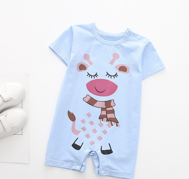 Summer Cute Style Cartoon Blue Diary Cows Clothes Short-Sleeve Jumpsuit Newborns Toddler Infant Baby Boys Girls Romper