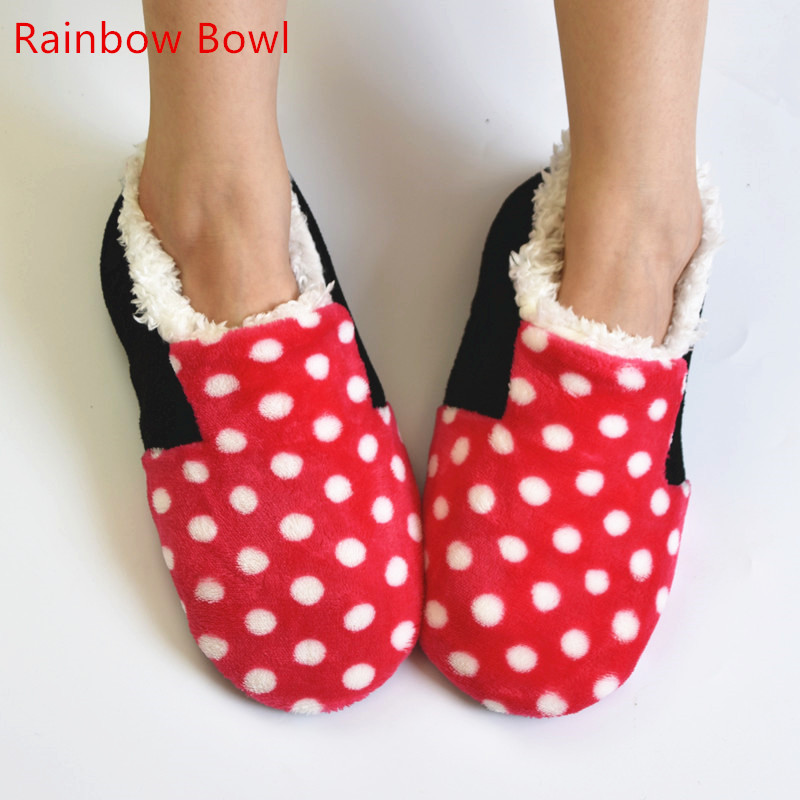 Rainbow Bowl Plush Cotton-padded Women Slippers Winter Warm Shoes Autumn  Indoor Home Slipper Shoes Foot Warmer Floor Socks vanled 2017 new fashion spring summer autumn 5 colors home plush slippers women indoor floor flat shoes free shipping