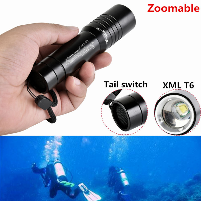 New 2000 Lumen XML-L T6 LED Diving Flashlight Torch Lantern Waterproof Diver Flash Light Lamp for 1x18650 battery high power 2000 lumen xml l2 led diving flashlight torch waterproof 80m depth underwater diver led flash light lampe torche