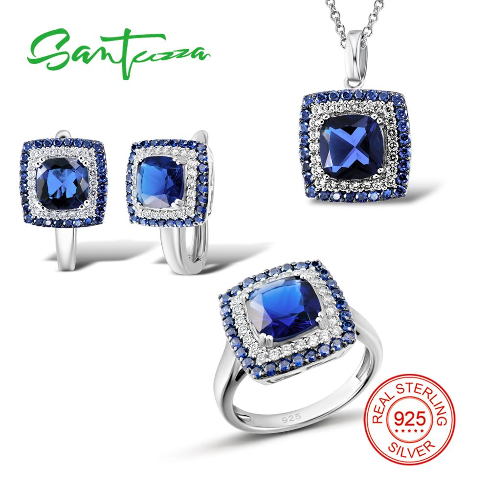 SANTUZZA Silver Jewelry Sets for Women Shiny Blue Crystal White CZ Ring Earrings Pendant 925 Sterling
