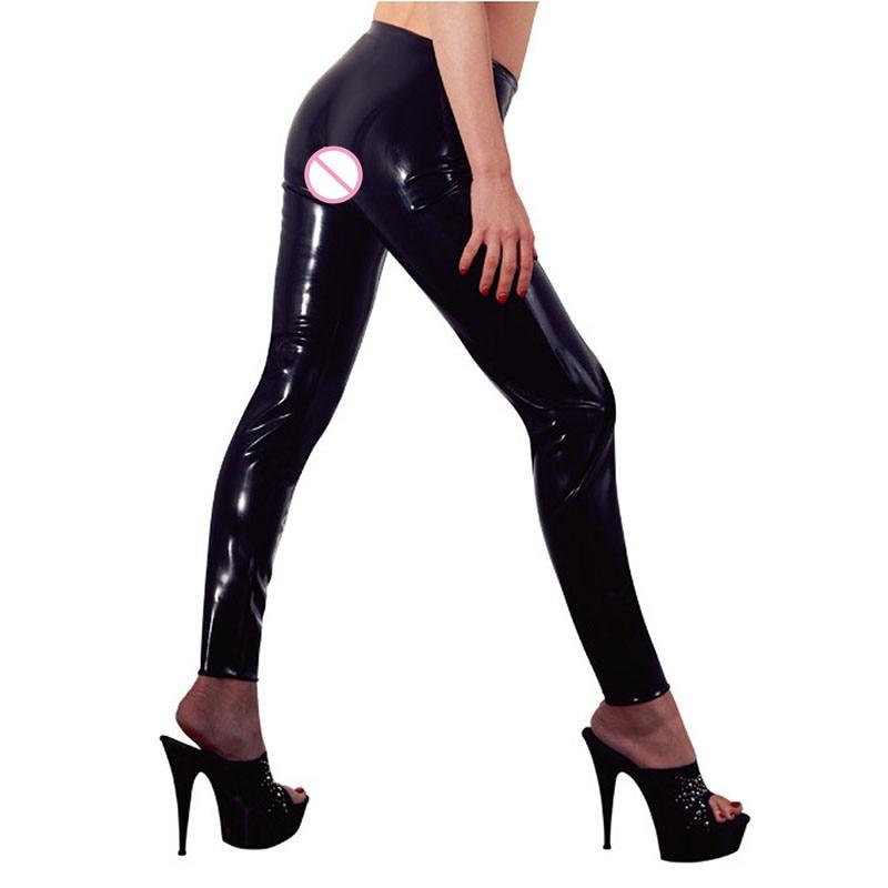 Plus Size XXL Schwarz Sexy Vinyl Leggings Bandage Neuheit Exotic - Damenbekleidung - Foto 2