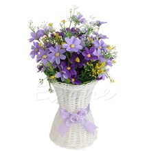 New 1Pc Artificial Rattan Vase Flower Fruit Candy Storage Basket Garden Party Decor Drop shipping