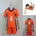 Hot Anime Uniforme Haikyuu Camisola No. 4 Nishinoya Yuu Traje Jerseys