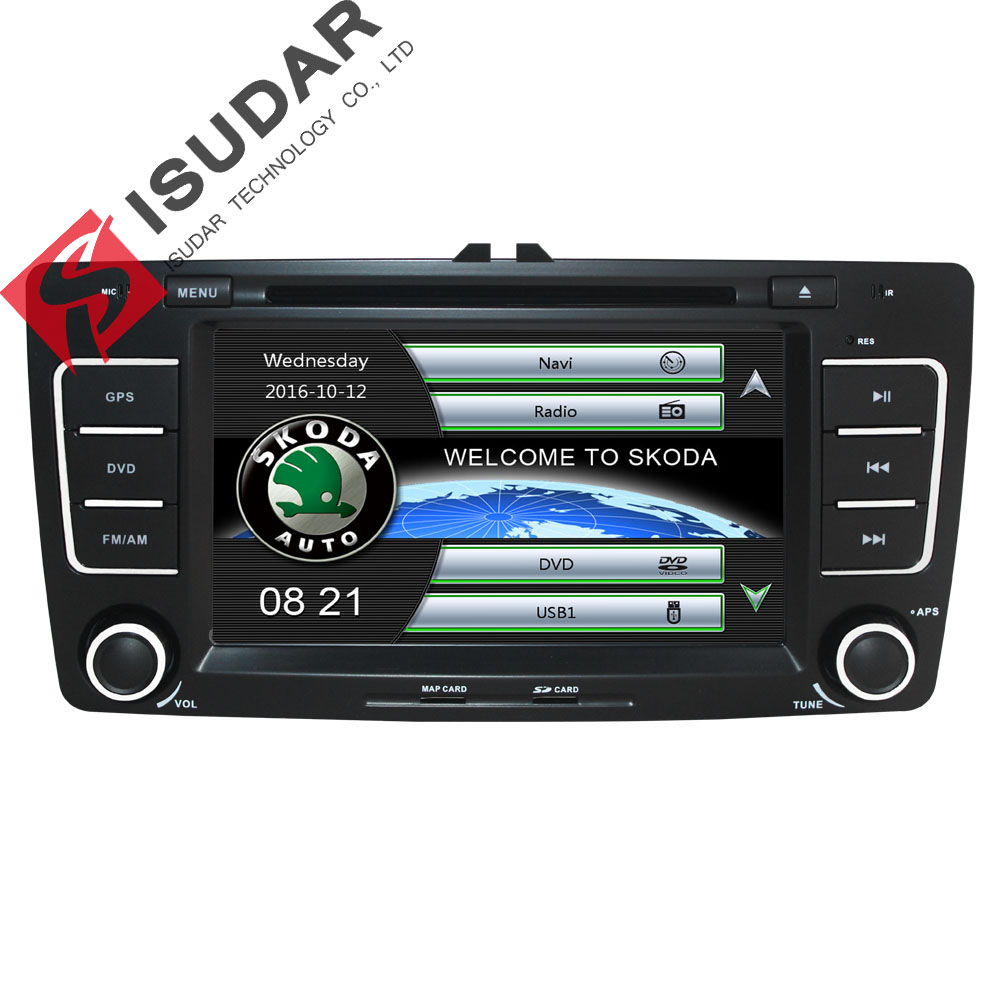 Isudar Car Multimedia player GPS Autoradio 2 Din 7 Inch For SKODA Octavia 2009-2013 Bluetooth IPOD FM Radio RDS WIFI DVR SD isudar car multimedia player automotivo gps autoradio 2 din for skoda octavia fabia rapid yeti superb vw seat car dvd player