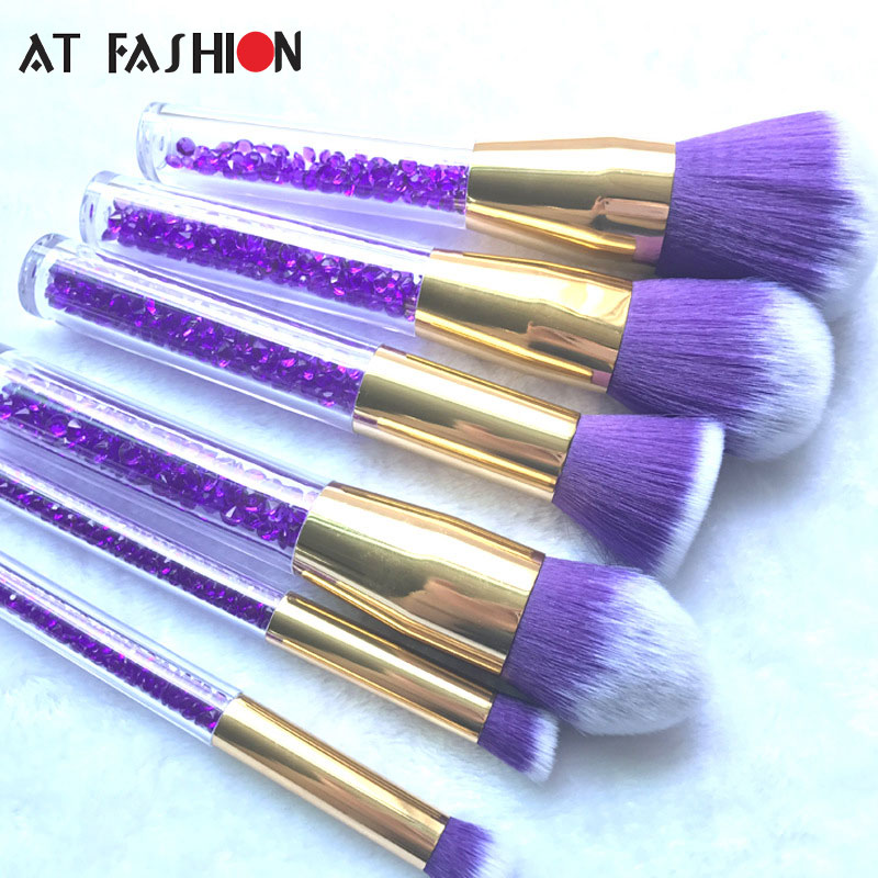 New 6pcs Diamond Makeup brushes Crystal Handle Powder Eyesha