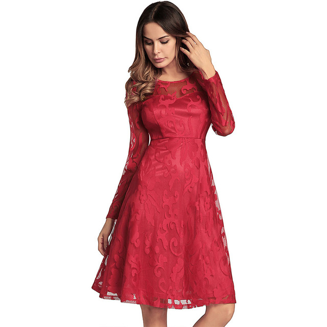 See Through Lace Dress Women Chic Spring Summer Party Long Sleeve Mini Dresses  Floral Layered Mesh Frock 79395df12ae4
