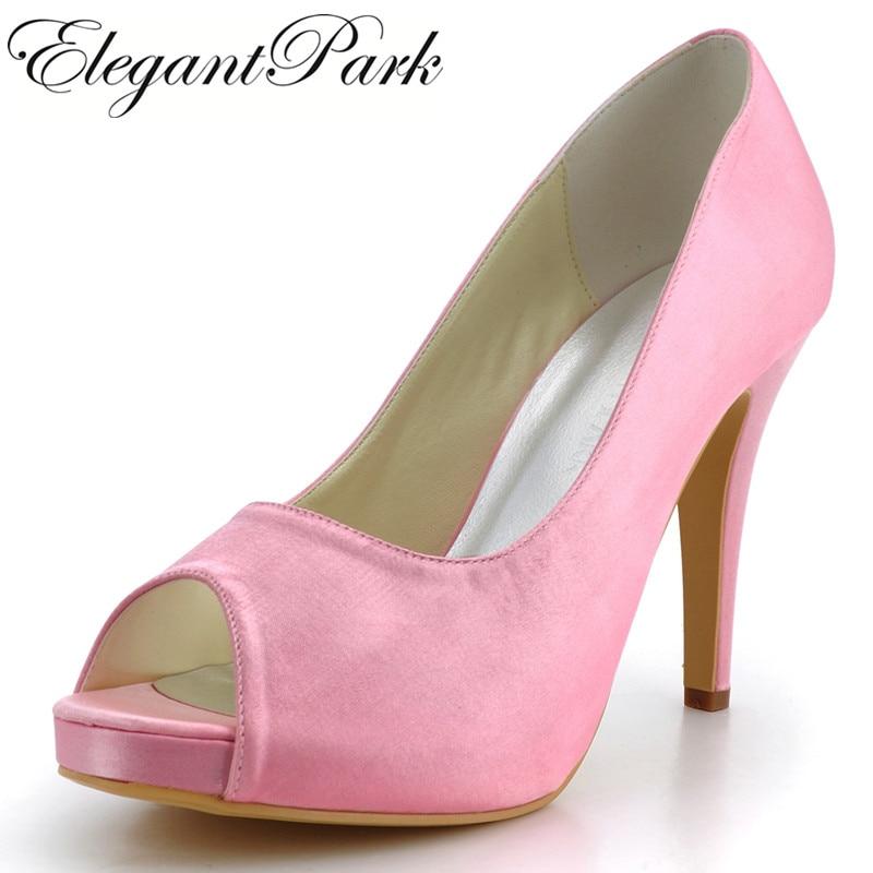 women Pumps EP41028-IP Pink Peep Toe  high Heel Platform pumps Satin Bridal  Wedding shoes woman heels сумка sp b30 ori empreinte b25 41028