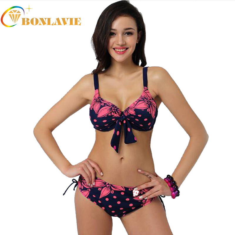 Big Cup Women Swimsuit 2017 Split Large Size Swimwear Printed Swimming Suit for Women Halter Bikini Push Up Bath Suit chic halter printed colorful three piece swimsuit for women