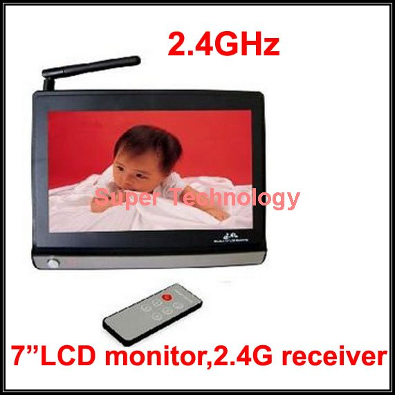 ФОТО 2.4G receiver TV out display 7 inch LCD Monitor 2.4G Wireless Receiver,CCTV Camera,CCTV receiver,baby monitor 4 channels support