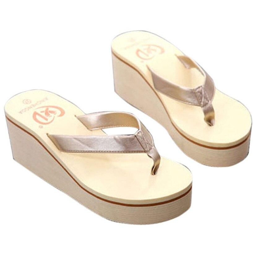 New arrival Fashion Summer Sexy Flip Flops Women Beach Sandals Bohemian Muffin Slope With Sandals Most Popular Female Footwear сланцы popular summer flip flops