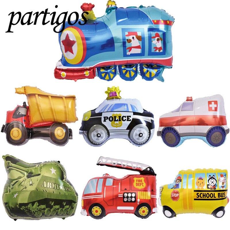 50pcs 30 inch Toy Car Balloon Foil Balloon Tank Ambulance Policeman Fire Engine Truck Balloon Kids