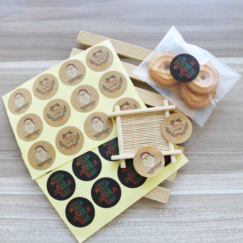 120pcs Christmas Elements Self-adhesive DIY Sticker Gift Sealing Decoration Paster Baking Packing Label Wrapping Stickers