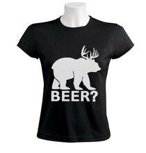"Funny ""BEER?"" (Deer + Bear) women's shirt / girlie"