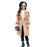Kız Mont kemer Ile Paltolar Çocuk Moda Giyim Kız dış giyim yün sonbahar uzun kollu çocuklar palto 3 7 9 12 yıl
