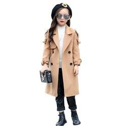 Mädchen Mäntel Mit gürtel Mäntel Kinder Mode Oberbekleidung Mädchen oberbekleidung wolle herbst langarm kinder mantel 3 7 9 12 jahre