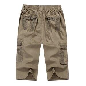 Image 2 - summer mens safari style cargo Shorts pocket cotton plus size 6XL 7XL 8XL man casual Elasticated waist shorts Stretch khaki 46