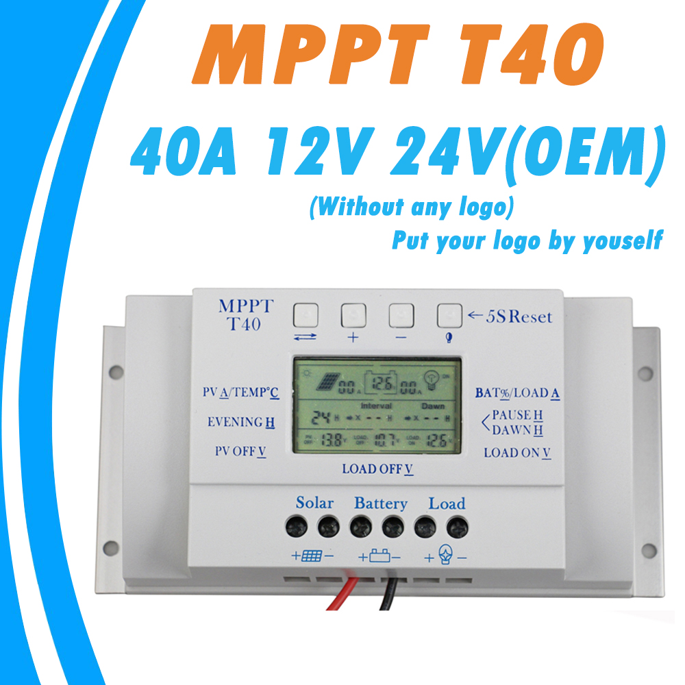 OEM MPPT 40A 12V 24V Solar Charge Controller without Any Logo On Surface T40 LCD Solar Regulator Wholesale Price for Reselling прибор для авто oem 3 in1 12v 24v 68050