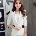 Primavera 2016 mulheres Blazer escritório ternos jaqueta casaco único botão Blazers Blaser Feminino preto branco JN005