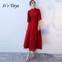 It's Yiiya Formal Evening Dresses Lace Up Beading Half Sleeve Lace Sexy Backless Fashion Designer Formal Dress LX1008