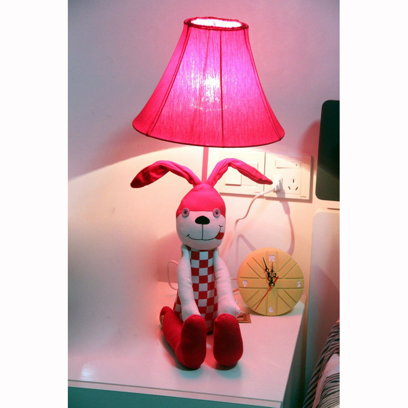Morden lovely Long ears cartoon fabric rabbit bedroom table lamp Colorful bedside table lamp creative Study room Desk Lights modern cartoon animal bedside nightlight lovely rabbit sleep luminaria table lamp novelty pvc plastic baby bedroom desk light