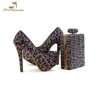 Beautiful Mix Rhinestone Adult Ceremony High Heels Multicolor crystal women Wedding shoes with matching bags platform shoes