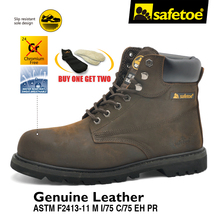 Safetoe Mens Work Boots Safety Shoes Trainers Steel Toe Brown Extra Wide Cow Leather Steel Plate Midsole US Size 4-13 SRC(China)