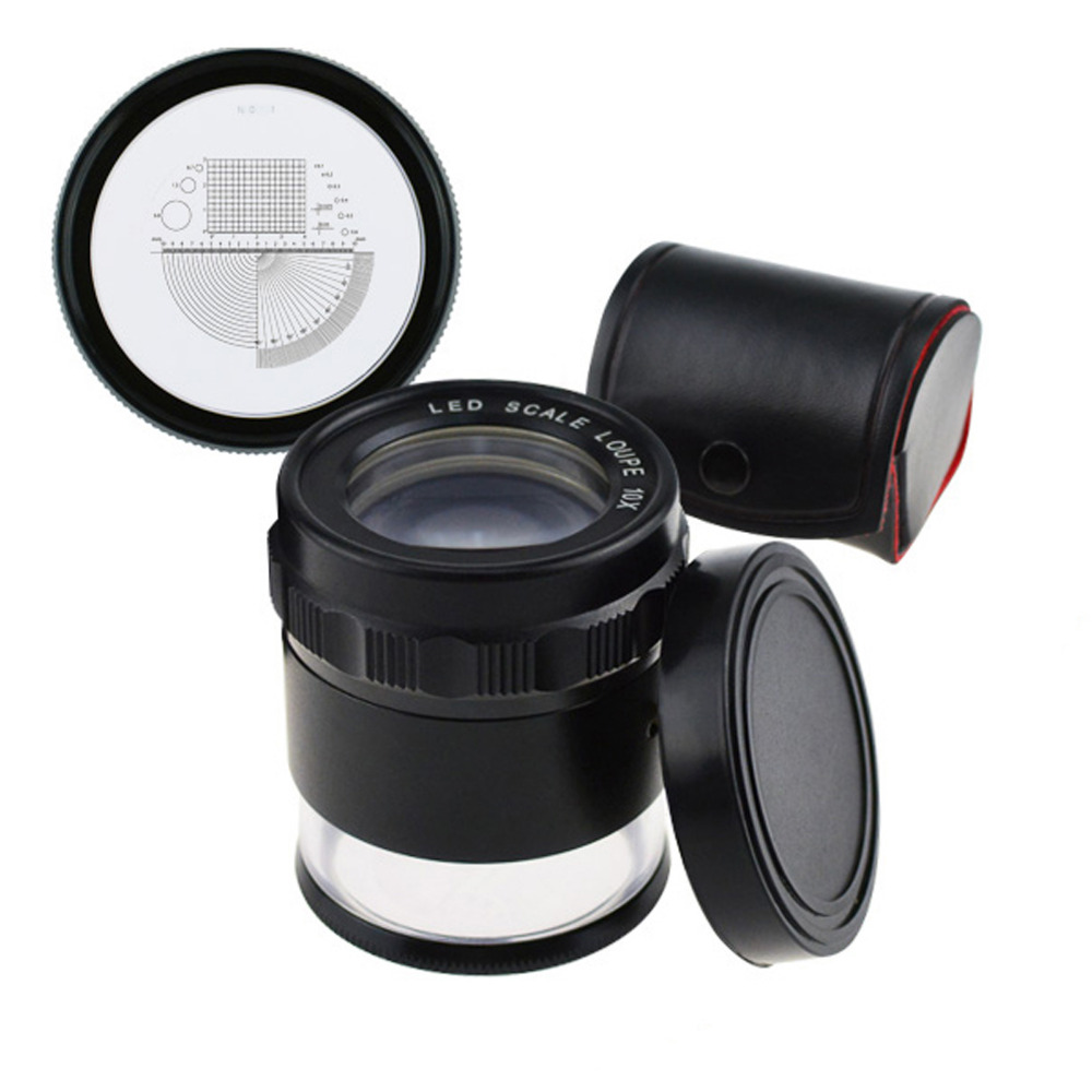 10x Magnification 25mm Magnifier Loupe Interchangeable Reticle 0 20mm Scale Jewelry Jeweler Tools with LED Light