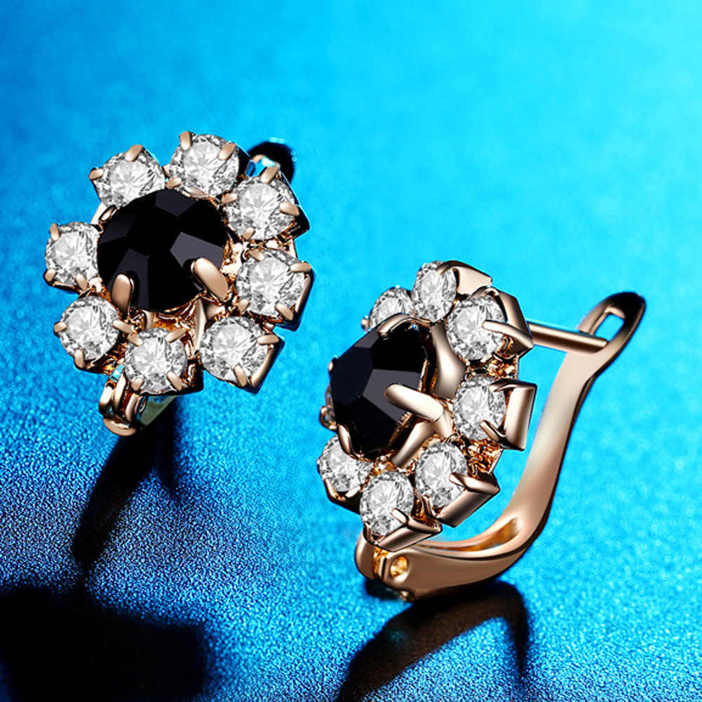 Women Fashion Flower Jewelry  Stud Earring CZ Vintage Black Stones Big Crystal Stud Earrings