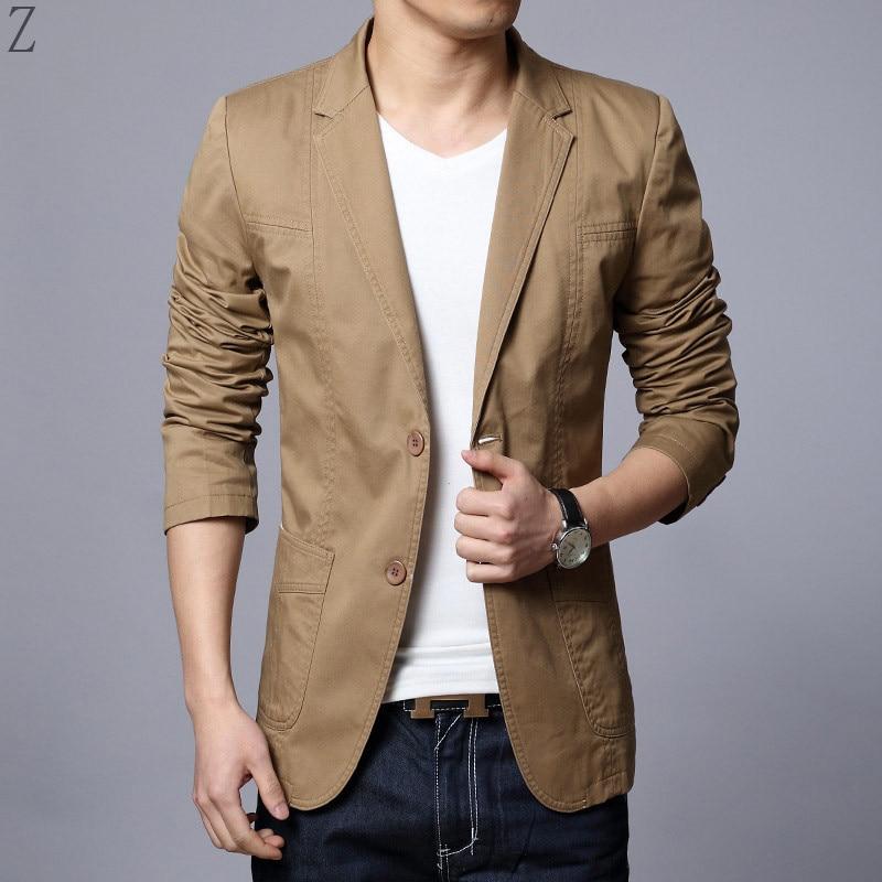 2018 Neue Ankunft Luxus Männer Blazer Frühling Mode Marke Hohe Qualität Baumwolle Slim Fit Anzug