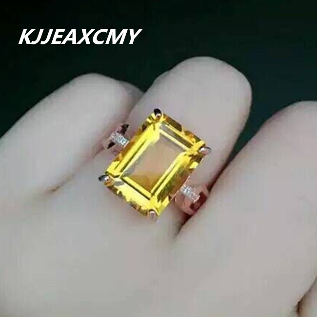 KJJEAXCMY natural citrine rings inlaid jewelry wholesale and retail S925 Sterling Silver