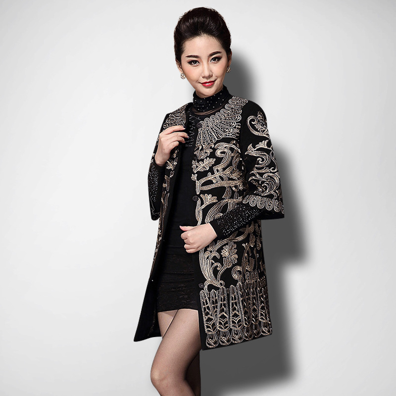 2018 new arrival autumn and winter faux woolen coat women plus size gold embroidery coats outerwear drop shipping