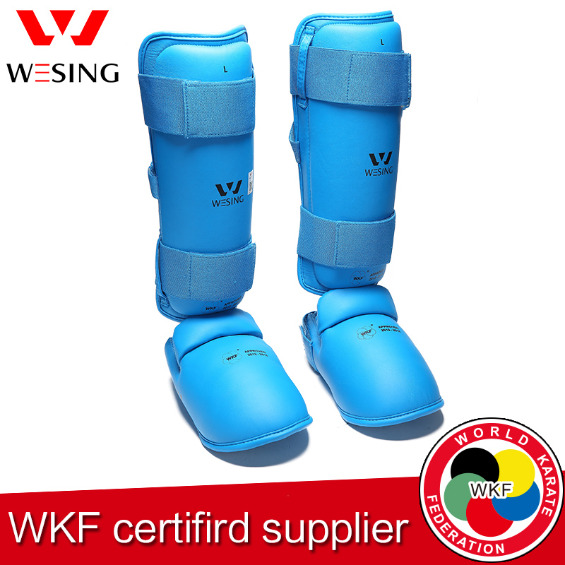 Wesing   karate  shin and instep guard Adult WKF approved pu polyurethane inside karate shin protector free shipping wesing women karate chest guard female boxing chest protector approved wkf