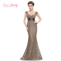 Ever Pretty Elegant Peach Collar Long Evening Party Dresses Women Empire Mermaid Dress Prom Gowns V neck Evening Gown EP08798CF