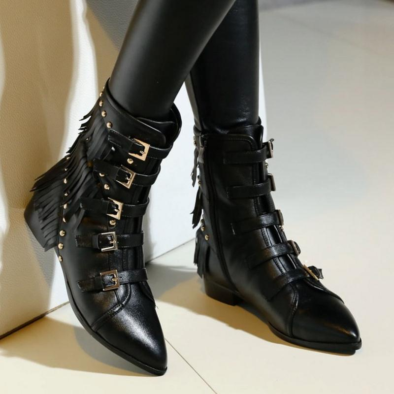 34 Chaussures Bottes Talons Pointu Sexy Cuir Taille Naturel D'hiver Réel Nouvelles Misakinsa Rivets Carré Bout Cheville Gland 40 Noir En Femmes gwqa705Ux