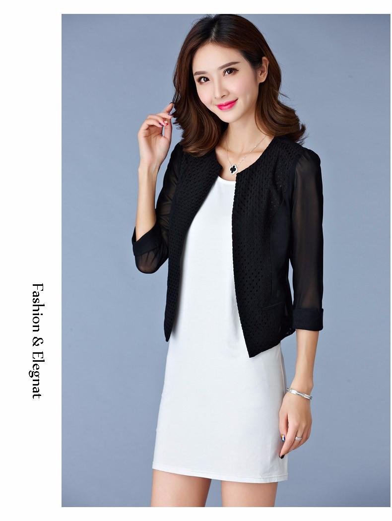 Women Black White Gauze Jacket Summer 2016 Chiffon Cardigan Sexy 34 Sleeve Plus Size Slim Jackets Office Lady Coat Tops A385  g