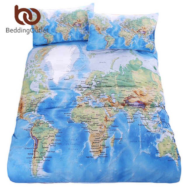 Beddingoutlet карта мира постельных принадлежностей Яркие Печатных синий кровать пододеяльник с наволочкой твил Уютный домашний текстиль Королева размеры 3 шт.