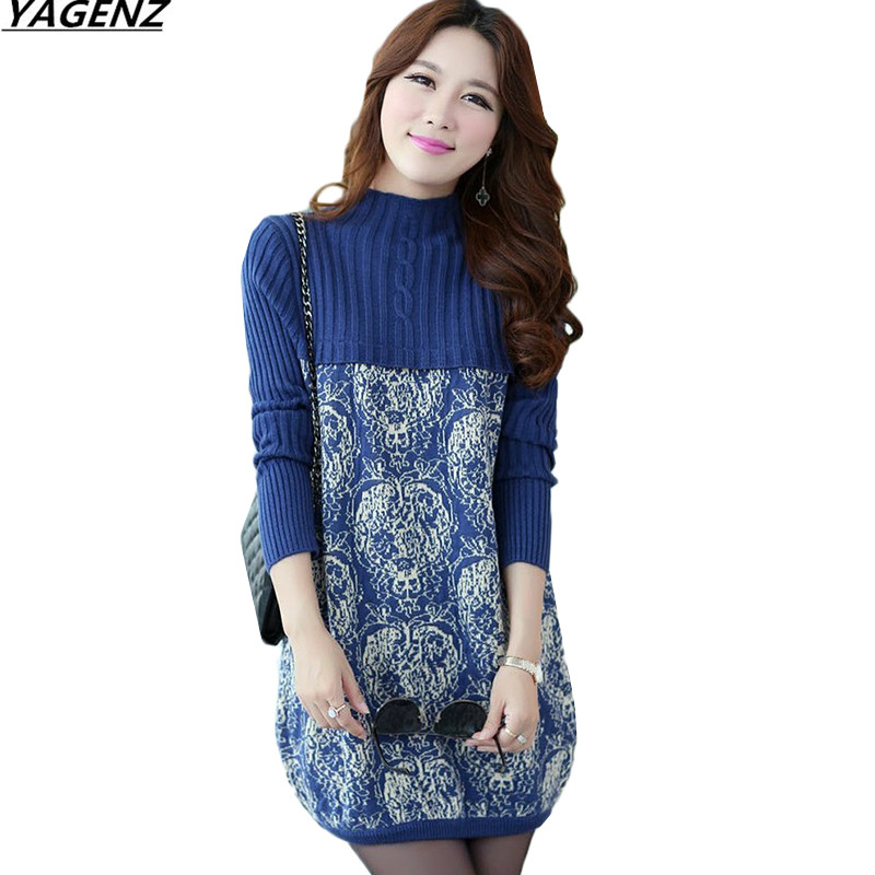New Women Sweater Dress Winter Warm Pullover  Turtleneck Print Sweater Women Knitted Long Sleeve Package Hip Dresses YAGENZ K759 women turtleneck front pocket sweater dress