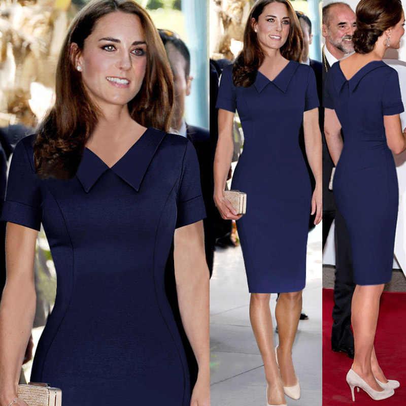 24d0af7aa5534 Catherine Elizabeth Middleton Princess Kate Pencil Dress Women Elegant  Celebrity Peter Pan Collar Short Sleeve Work Office Dress