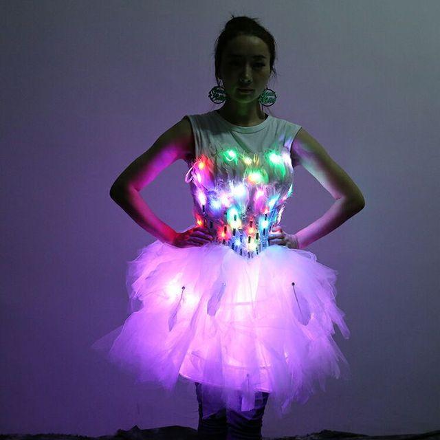 Ohlees Y Women Bridal Shine Light Up Luminous Clothes Led Costume Ballet Tutu Dresses For