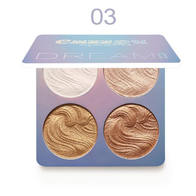 4 Colors Highlighter Illuminator Makeup Glow Kit Face Brightener Contouring Liquid Highlighter Powder Palette Bronzer