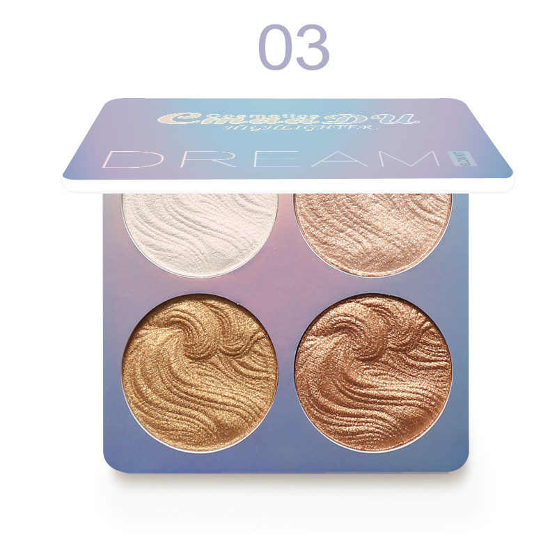 4 צבעים סימון הפנס איפור זוהר ערכת פנים מלביני Contouring נוזל סימון אבקת צבעים Bronzer